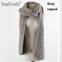 Europe And American Style New Winter Wool Scarves For Women With Knitted Scarf Thick Warm High