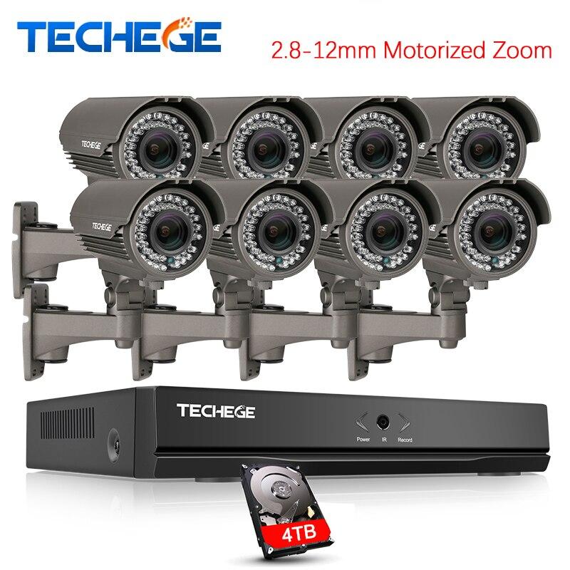 Techege H.265 Sicherheit Überwachung Kits 8CH PoE NVR Kit 4MP 2,8-12mm Motorisierte Zoom Kamera POE System P2P cloud cctv system
