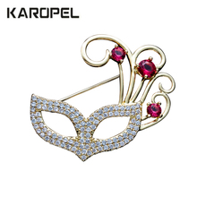Masquerade Zircon Mask Brooches For Women Cubic Wedding Party Jewelry Brooch Pins Clothes Suit Accessories