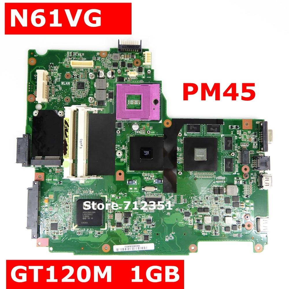 N61VG Mianboard 1GB N10P-GV2-C1 PM45 DDR2 For Asus N61V N61VG Laptop Motherboard REV 1.1 N61VG Motherboard 100% Tested