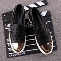 Fashion Men Rivet Metal Genuine Leather Slip On Punk Casual Loafer Shoes Driving Car Shoes