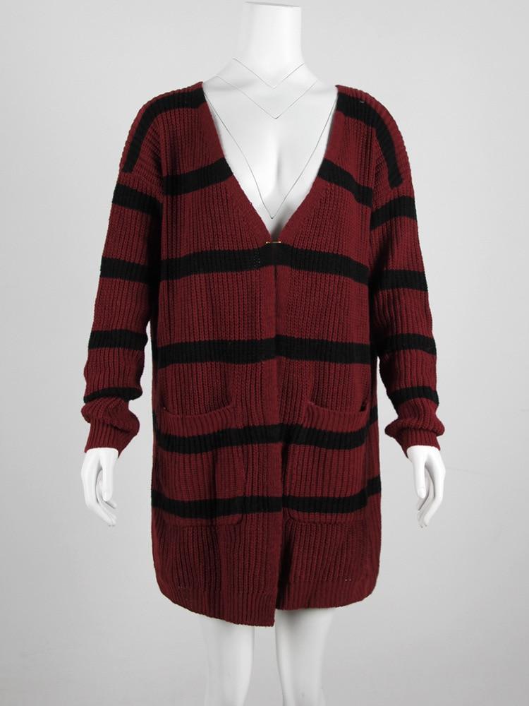 Estilo Nuevo Regulares Femenino Stripe Street Marfil borgoña 2018 Mujeres Cardigan Suéter De Knit Poncho Nacional Rayas Limitado Tiempo PA5dvq5xw