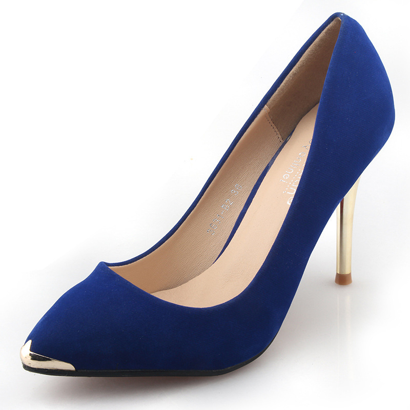 Women hot new simple thin high heels summer spring sexy ladies sweet solid metal pointed toe soild women sequined office pumps new 2017 spring summer women shoes pointed toe high quality brand fashion womens flats ladies plus size 41 sweet flock t179