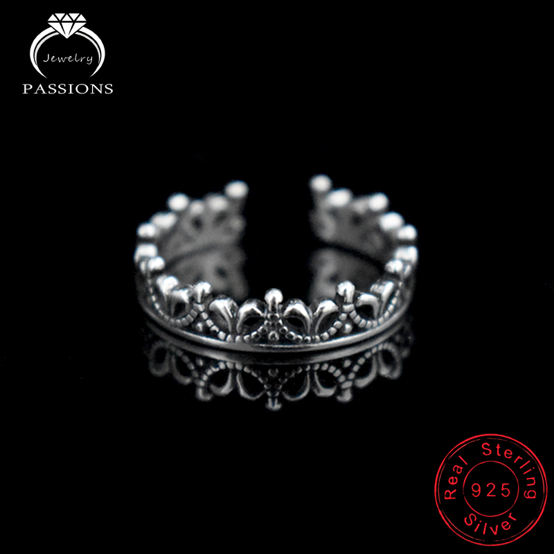 Wholesale Jewelry Antique 925 Silver Plate Rings Resizable Royal Crown Rings For Women Vintage Punk Style Rings For Girl&Lady