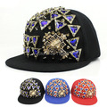 Free Shipping Handmade Adjustable Snapback Cap Triangle Crystal Diamond Crossing Stud Rivet Peaked Cap Flat Brim Rock Hiphop Cap