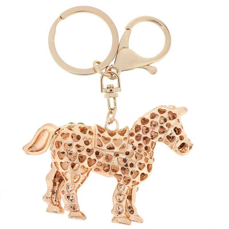New Cute Crystal Horse Keyring Keychain Rhinestone Charms Pendant Purse Bag Key Ring Chain for Women Girl Birthday Gift 5 Color