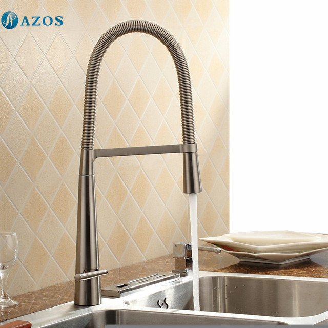 Kitchen Sink Faucets Spring Rotatable Pull Out Down Spout Single Handle Waterfall Nickel Brushed Brass Mixer CFLT252