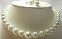 Natural 11 13mnm Australian south sea white pearl necklace 18''&earring