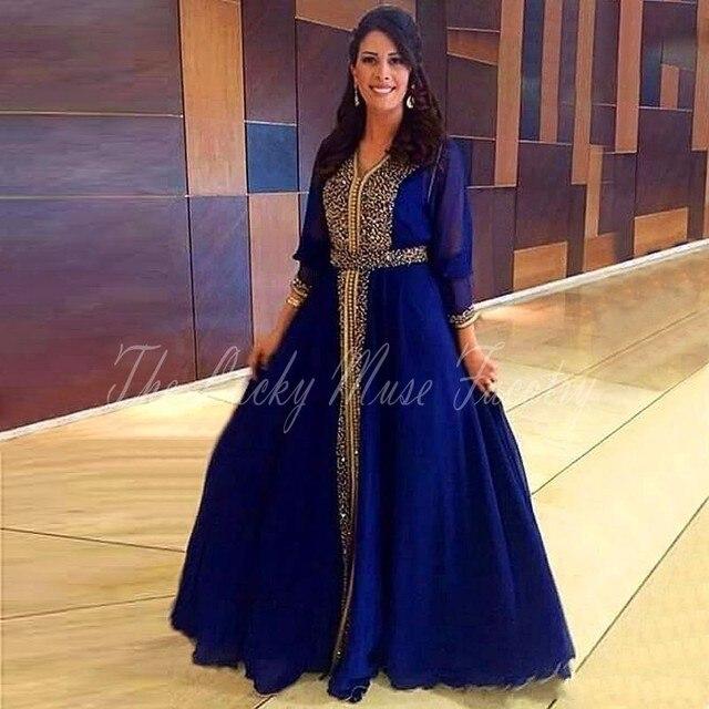 robe de soiree longue Dubai Kaftan Evening Dresses Long Sleeve Royal Blue  Caftan Muslim Beading Party Prom Gowns Plus Size f6e26c238993