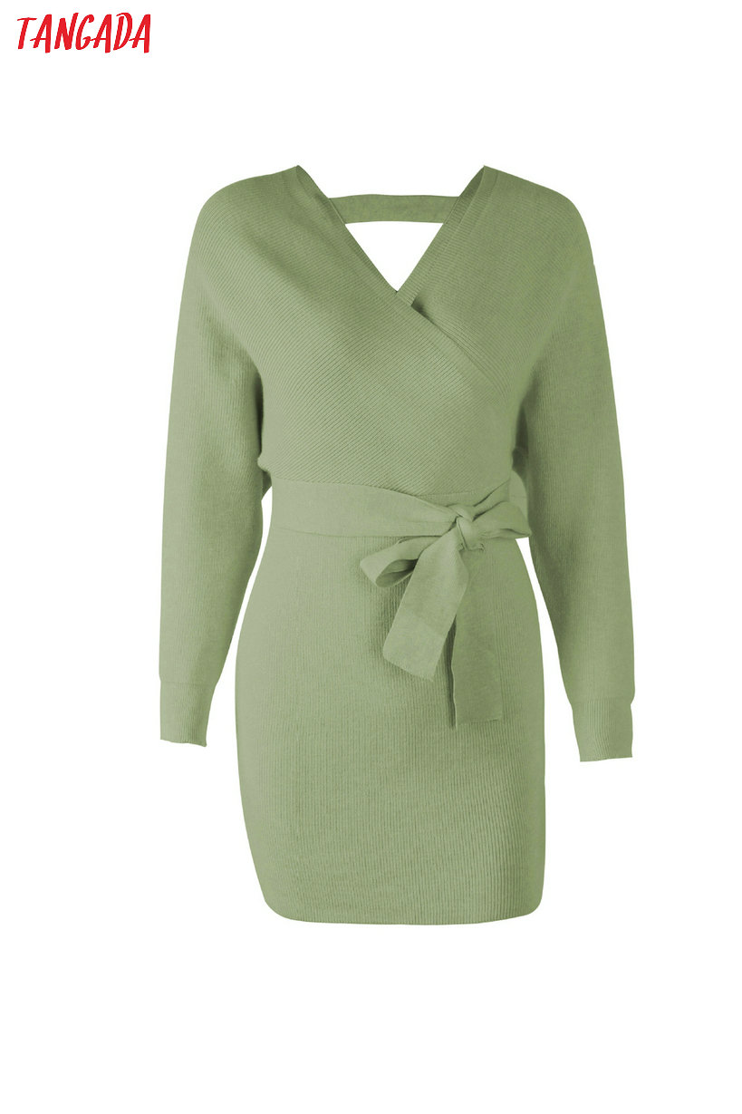 Tangada women dress 19 knitted mini dress autumn winter ladies sexy green sweater dress long sleeve vintage korean ADY08 18