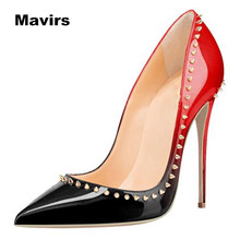 Mavirs Fashion classics women's ladies girl students princess wedding bride party sexy pointed toe rivets high heels shoes pumps