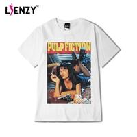 LIENZY Verão Mulheres T Camisa Engraçada Impressão Filme Pulp Fiction Hip Hops 100% Algodão Branco T Shirt Tops