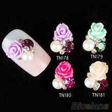 10x 3D Rose Nail Art Stickers Tips Studs Shiny Metallic Rhinestone Nail Jewelry 1QFY 4NY7 7GU2