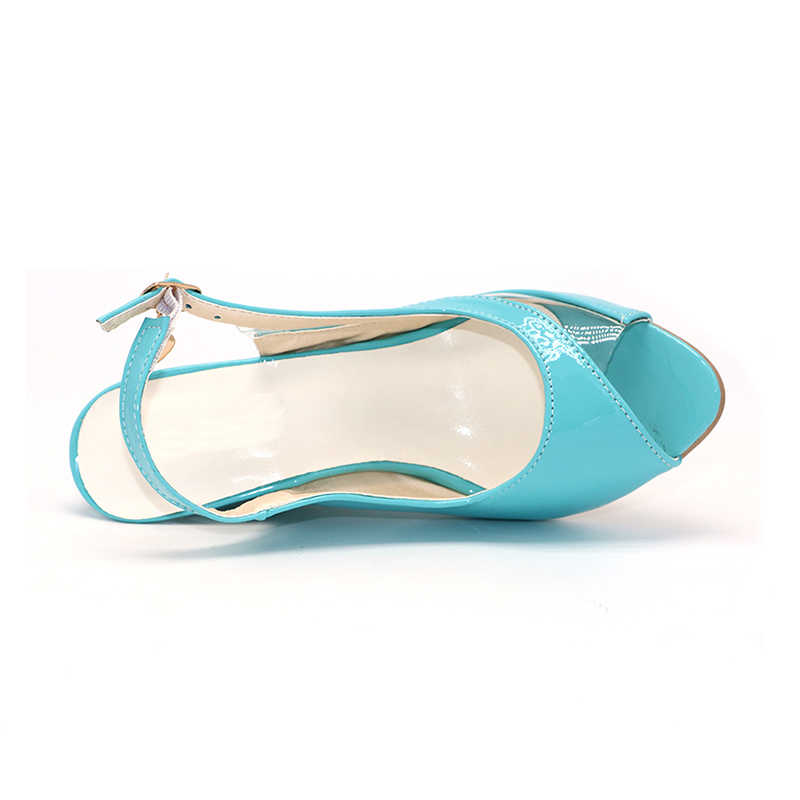 BONJOMARISA yüksek kama topuk sandalet toka burnu açık şeffaf ayakkabı kadın yaz ayakkabı Patent PU seksi yaz marka yeni ayakkabı