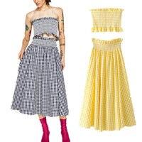 Women Sexy Casual Slim Elastic Plaid Skirt Sets 2017 Summer New Wood Ears Elastic Plaid Tee