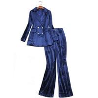 Velvet Pants Suit Women Elegant Autumn Winter Luxury Brand Jacket+Pants Set For Wedding Formal Office Ladies Business Wear Blue