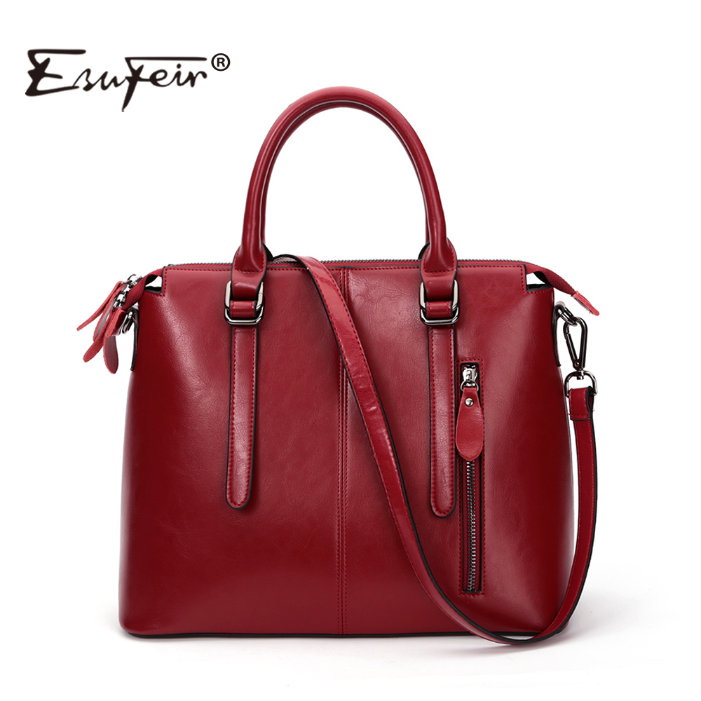 New 2017 Fashion Brand Genuine leather Women Handbag Europe and America Oil Wax Leather Shoulder Bag Casual Women Bag KJ036