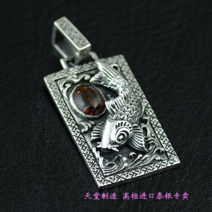 Genuine OV leap carp 925 silver pendant. yoursfs золото покрытие rhinestone кристалл браслеты для женщин розовое золото цвет charms день матери браслеты браслеты моды b085r4