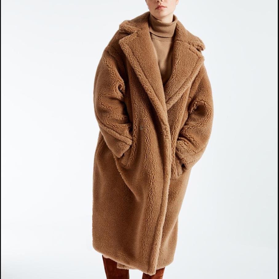 Tournent Outwerwear dark Épaissir 2019 Manteau Longues Manches À Femmes Vers Camel D'agneau Long Bas Chaud Laine Mode De Le Red Faux Hiver Lâche wqqx1YpO