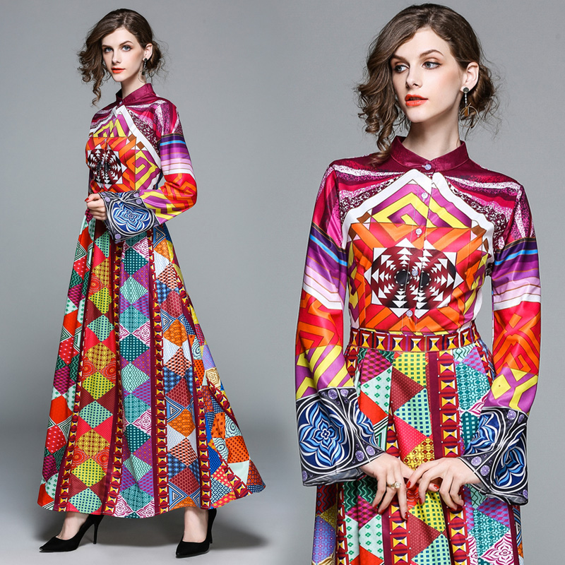 Boho Designer 2018 Women Long Dress Spring Fashion Gorgeous Abstract Multi Color Print Flare Sleeve Pleated Ankle Length OM300