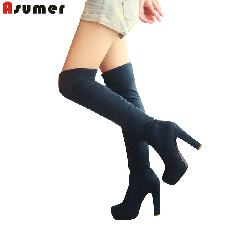 ASUMER Big size 34-43 2016 fashion autumn high heels round toe platform thigh high women boots thigh high over the knee boots 2017 winter new fashion women brown or white color square toe heels over the knee high thigh boots martin long boots big size 42