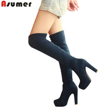 цена ASUMER Big size 34-43 2016 fashion autumn high heels round toe platform thigh high women boots thigh high over the knee boots