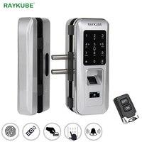 RAYKUBE Biometric Fingerprint Door Lock For Office Glass Door Keyless With Touch Keypad Remote Control Intelligent Lock R W06