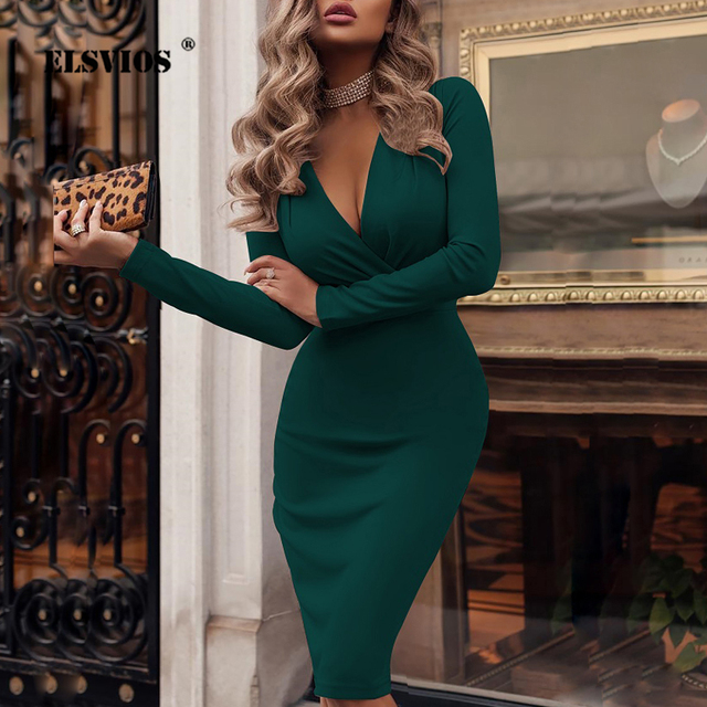 ee222ce7b34f ELSVIOS XXL Deep V-neck Wrap Ruched Bodycon Dress Women Spring Long Sleeve  Office Dresses Elegant Cocktail Nightclub Party Dress