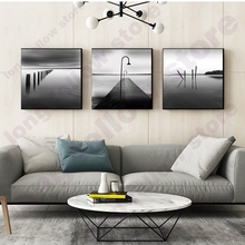 Black and White Gray Poster Modern Minimalist Wooden Bridge Port Landscape Picture for Living Room Wall Decor Nordic Home