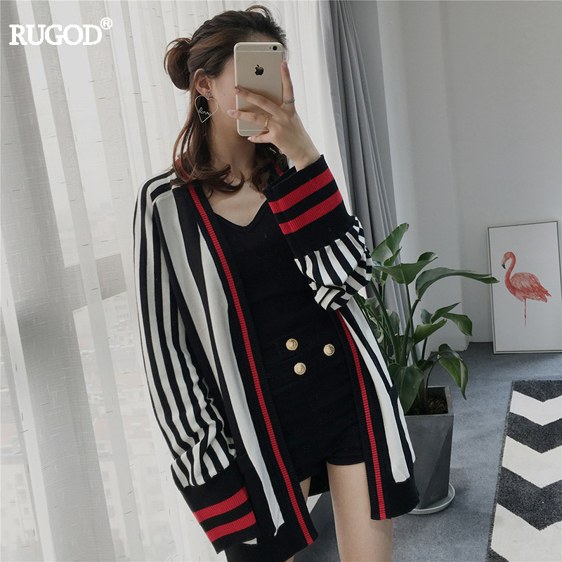 RUGOD 2018 New Striped knitted Cardigan Female patchwork Sleeve Cuff V Neck Slim Sweater Women 2018 Fashional Winter Jacket Tops