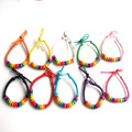 12pcs Rainbow Color Round Wood Beads Friendship Handmade Waxed Cord Bracelets Surf