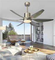 66 inch Nordic large country industrial wind ceiling fan LED light DC American retro remote restaurant living room ceiling fans