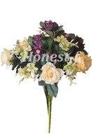 Yapay Çok Renkli Gül Ipek Çiçekler Bounquet Karışık Düzenleme, ev Otel Odası Düğün Dekorasyon (Mor, Beyaz, Sarı)
