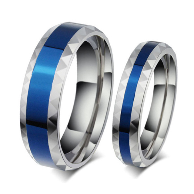 Fashion Blue Wedding Band Couple Rings For Men And Women Lovers