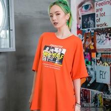 Print Hip Hop T-shirt Women Short Sleeved Oversized Womens Tshirt Street Tee Shirts Streetwear Clothing