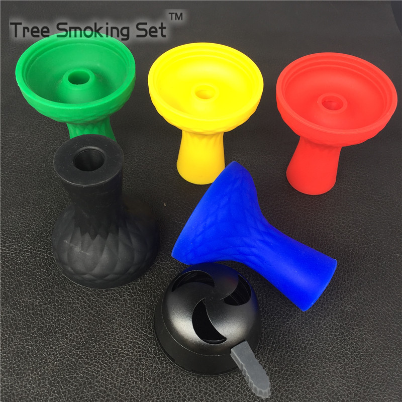 1 pc Medium Hole Silicone Hookah Bowl And 1 pc Aluminum Alloy Charcoal Holder With Hookah Bowl One Handle Of Hookah Accessories