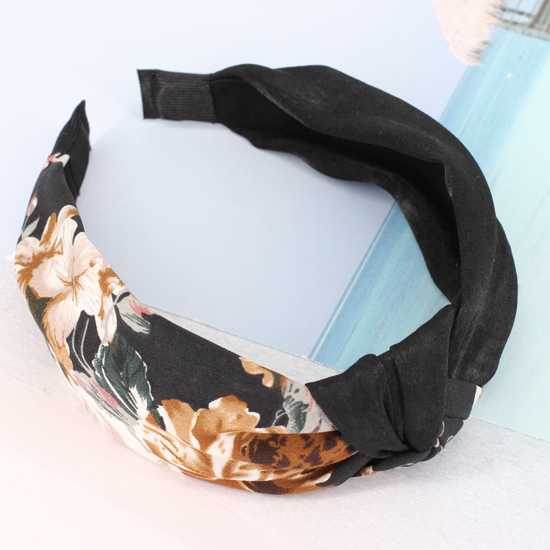 2018 Summer New Korean wild fashion headband Printed Floral cloth fabric hot sale wide-brimmed Cross hair band Hair accessories