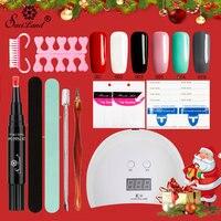 Saviland 15pcs Nail Art Choose 6 One Step Gel Nail Polish Pen Not Need Top Base Coat 3 In 1 UV LED Lamp Varnish Kit