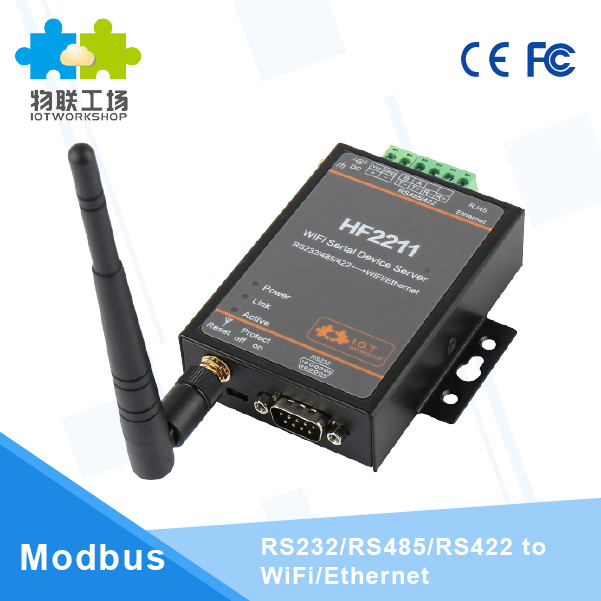 5pcs/pack CE FCC HF2211 Industrial Modbus Serial RS232 RS485 RS422 to WiFi Ethernet Converter Device TCP IP Modbus 4M Flash esp 07 esp8266 uart serial to wifi wireless module
