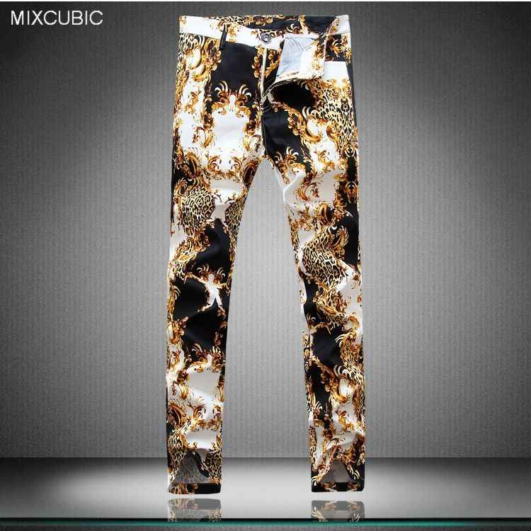 MIXCUBIC new spring hip-hop style Unique Leopard printed pants men casual slim Daisy printed pants for men,plus large size 29-38