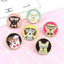 Cartoon Round Enamel Brooches for Women Men Creative Cute Dog Brooches Lapel Pin Badge Denim Backpack Pins Button Animal Jewelry(China)