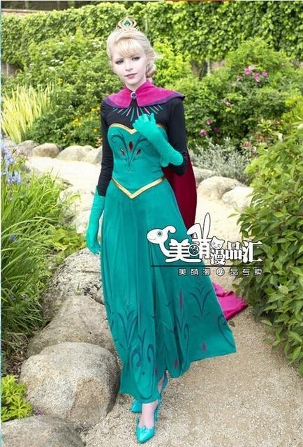 neue erwachsene elsa kostum snow queen elsa outfit kronung kleid cosplay erwachsenes kostum langes kleid kostenlose