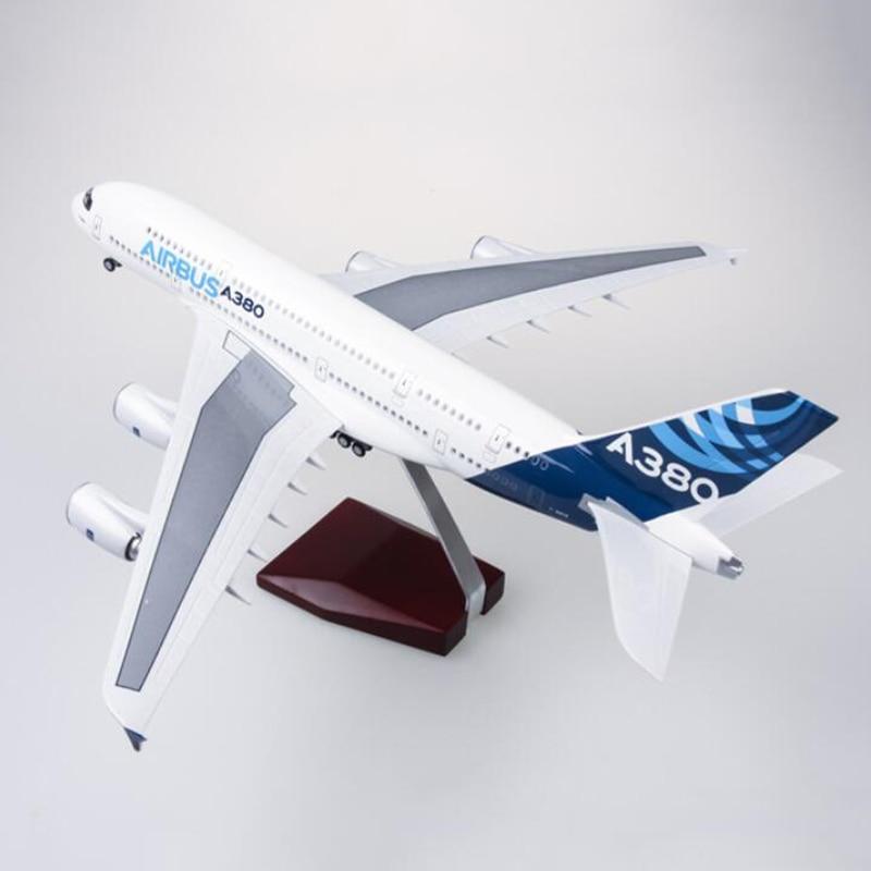 Oyuncaklar ve Hobi Ürünleri'ten Pres Döküm ve Oyuncak Araçlar'de 1/160 Ölçekli 50.5CM Prototip Havayolu Uçak Airbus A380 Modeli W Işikli ve Arka Diecast Plastik Reçine Uçak Koleksiyonu için'da  Grup 1