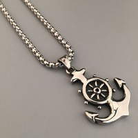 Men S Nautical Jewelry Anchor Charm Pendant Necklaces Anchor Rudder Pendant Jewelry Hip Hop Vintage Jewelry