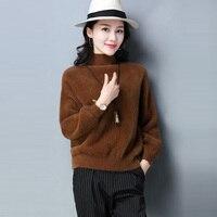 Women Turtleneck Sweaters Faux Mink Cashmere Fur Pullovers Sweaters Tops Autumn Winter Thicken Short Jumper Sweater FP1557