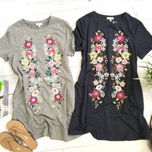 Summer Short Sleeve Floral Print Dress Women Casual Pockets Loose