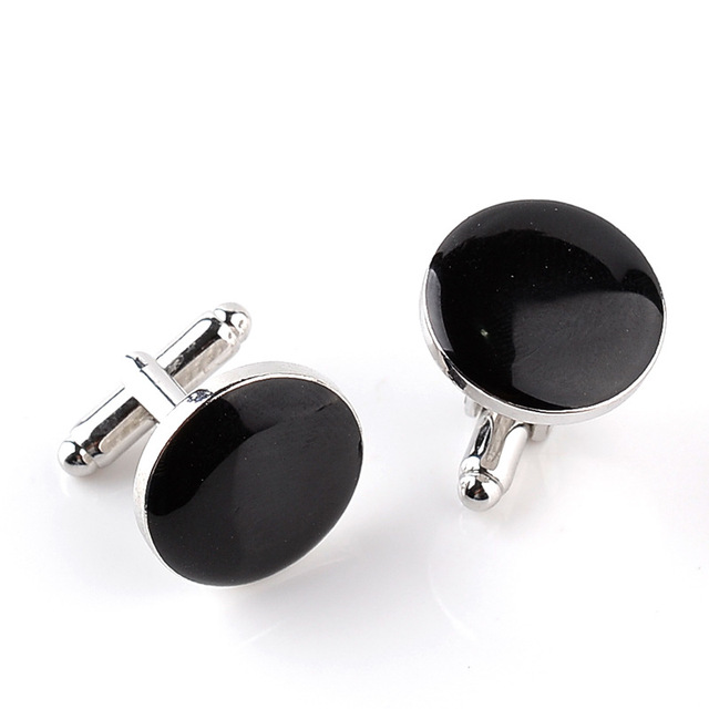 Trendy Simple Black White Round Cufflinks Vintage Men's Luxury Shirts Cuff Links Buttons Wedding Jewelry