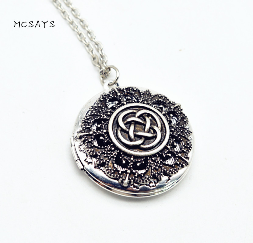 MCSAYS Viking Jewelry Celtics Knot Flower Openable Perfume Box Pendant Silver-Color Aromatherapy Necklace Special Necklace 4SL