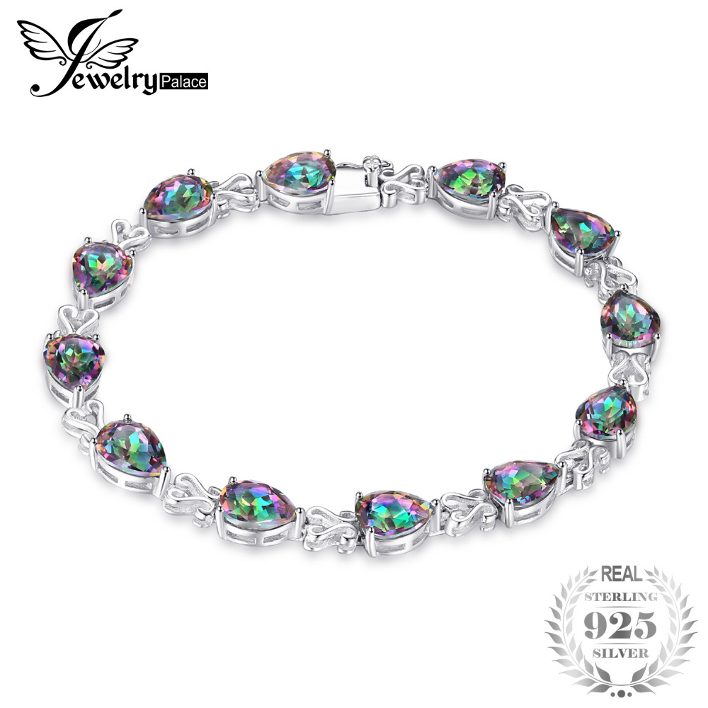 JewelryPalace 21.12ct Rainbow Fire Mystic Topazs Bracelet Pear Cut S925 Sterling Silver Jewelry Bracelet Vintage Gift