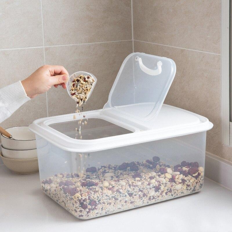 Seau à riz Transparent 8 kg ménage riz cylindre boîte de rangement grain scellé farine baril boîte de stockage antiparasitaire wx1061505